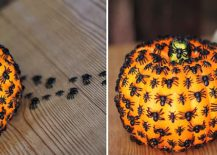 This DIY spider covered pumpkin definitely gives us the creeps [From: the kim six fix]