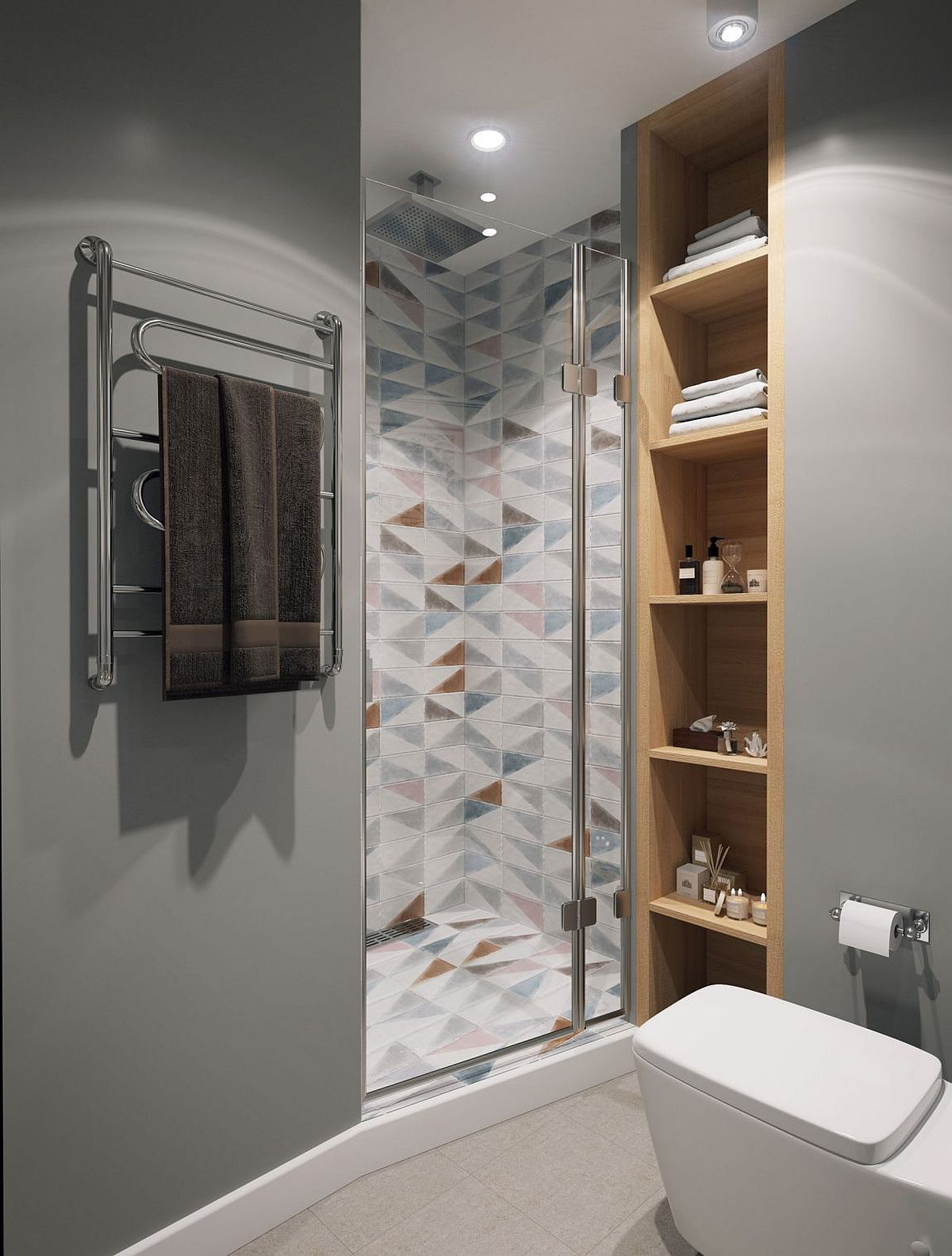Tiles in the shower area provide visual and geometric contrast