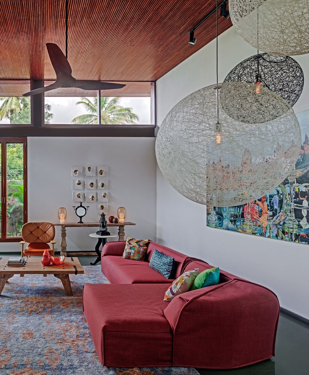 Timber and glass bring a balance of elements to the contemporary home in India