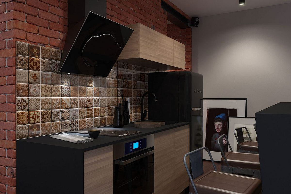 Tiny kitchen for the bachelor pad with minimum appliances and ample storage