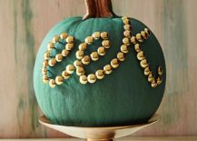 Touch of tacky color and pattern for the Halloween pumpkin