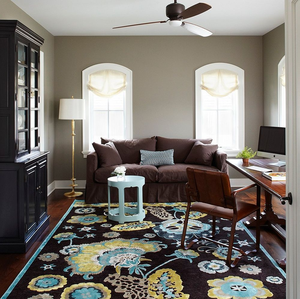 Traditional home office with a vibrant rug and gray walls [Design: Molly Quinn Design]