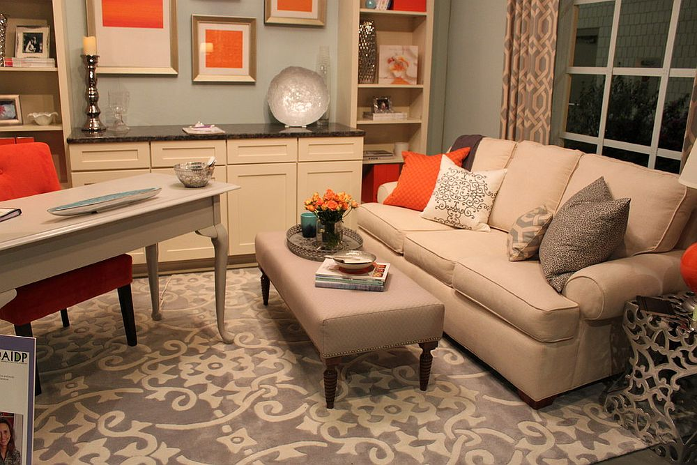 Transitional home office in gray and orange [Design: Maria Adams Designs]