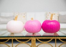 Trio of painted pumpkins give ombre style a new twist