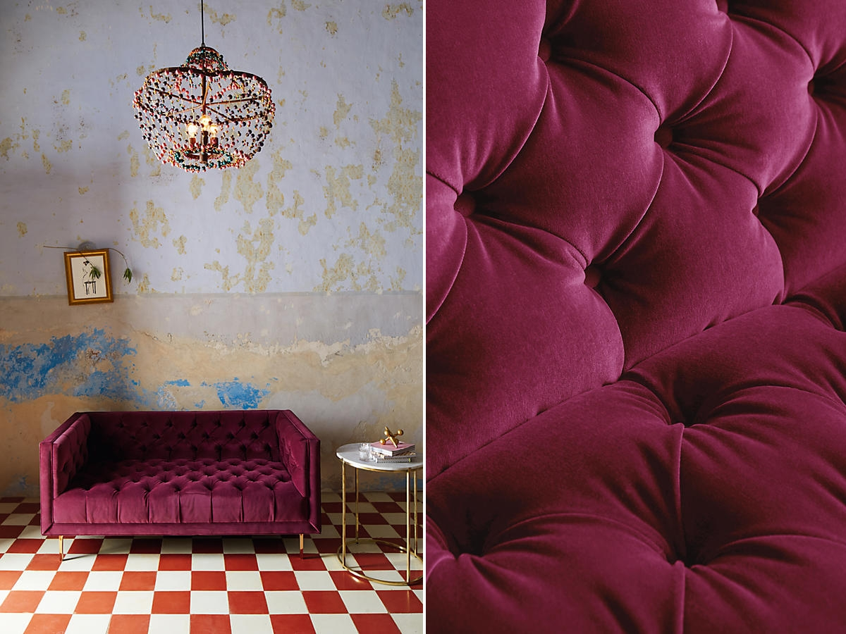 Tufted settee from Anthropologie
