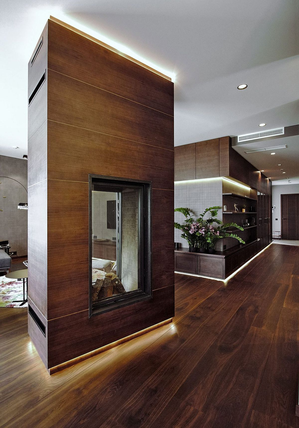 Two-sided fireplace in the living room also delineates space