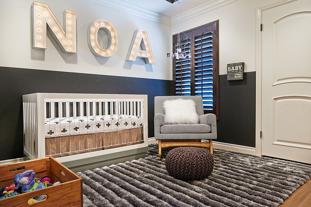 Two-tone wall in black and white for the dashing nursery [From: Lulu Designs / Jeff Thayer Photography]