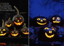 Unique jack-o-lanterns give the outdoors a fab Halloween vibe