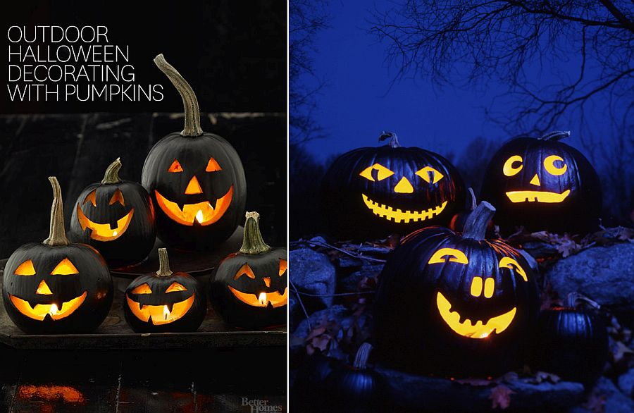 Unique jack-o-lanterns give the outdoors a fab Halloween vibe [From: BHG / Martha Stewart]