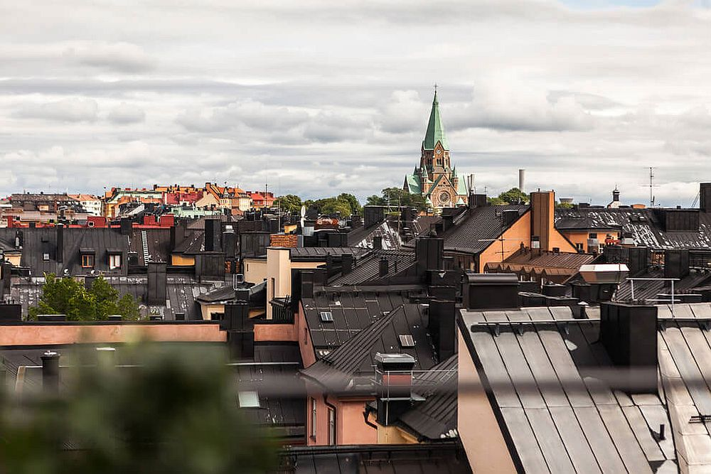 View of Stockholm's skyline from the Scandinavian style attic apartment