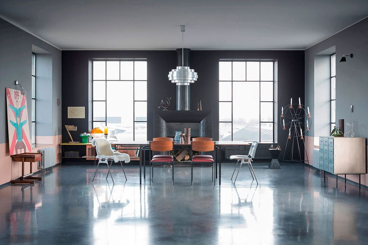 Vintage, modern and industrial touches give the living room a surreal, science fiction appeal