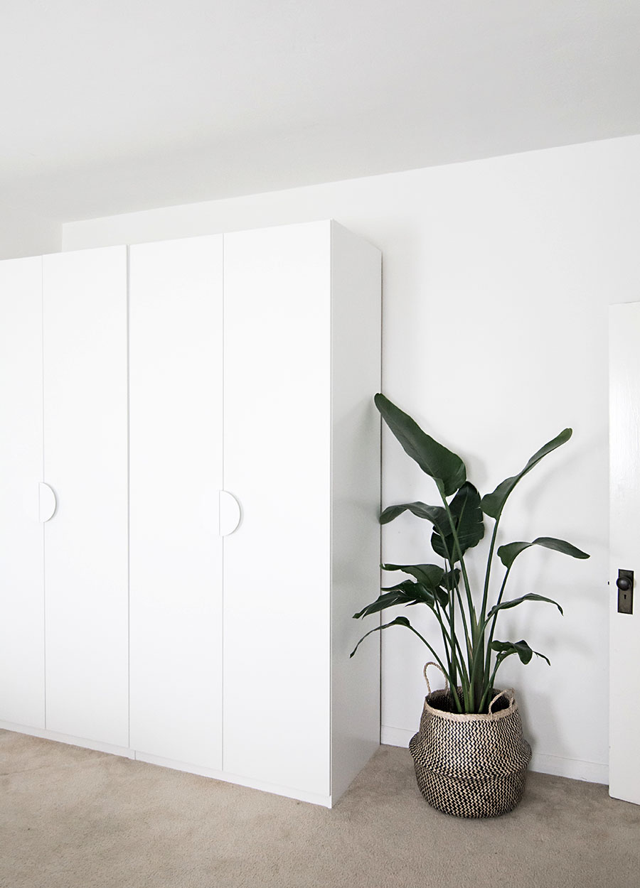White wardrobe with hideaway storage
