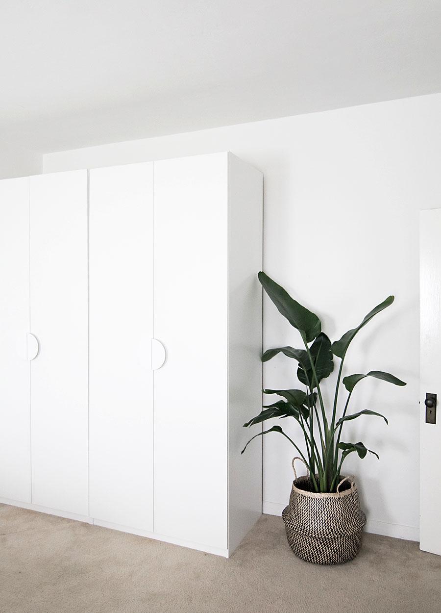 White wardrobe with hideaway storage