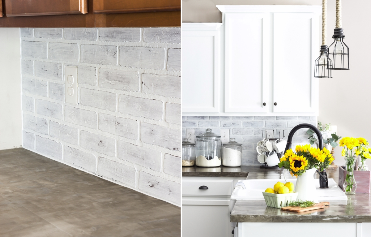 Whitewashed faux brick backsplash