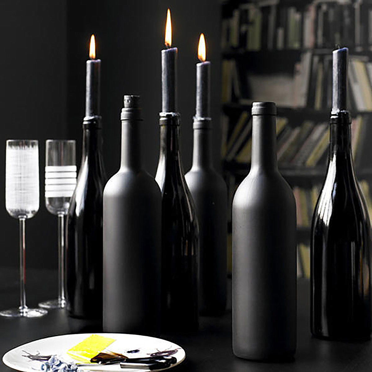 Wine bottle centerpiece for Halloween