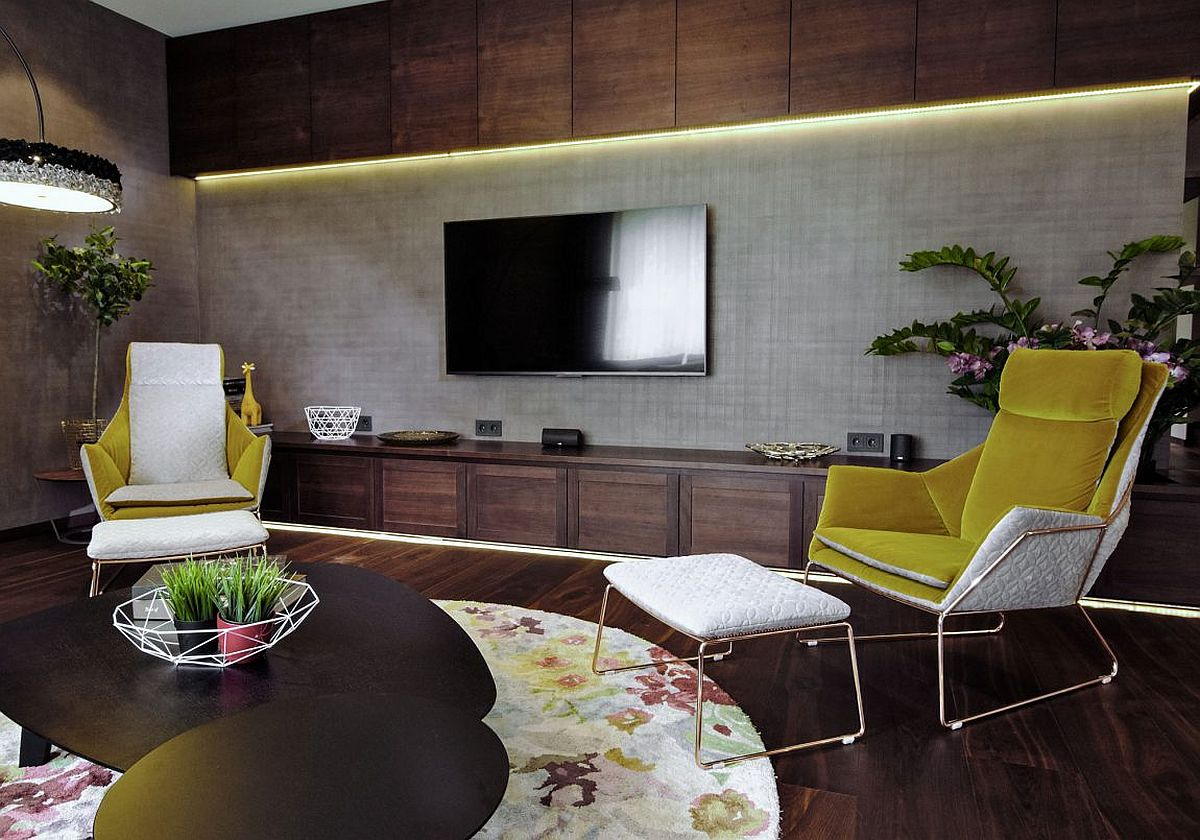 Wooden shelves above and below the TV in the gorgeous contemporary living room
