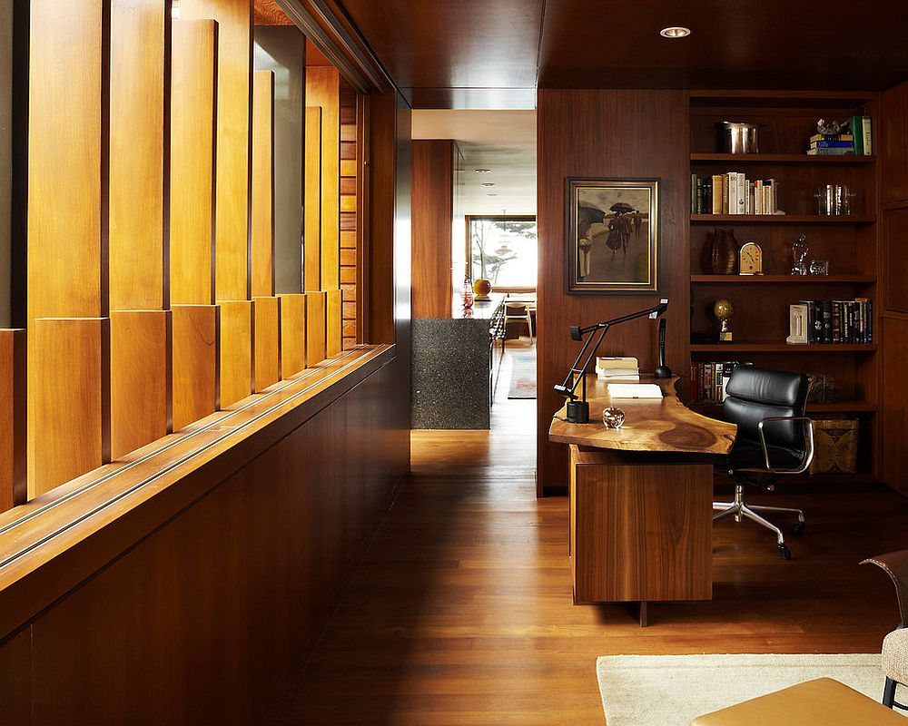wooden slats bring light into the modern home office with a live edge desk design