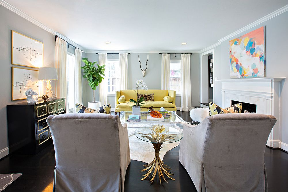 Yellow couch becomes the focal point of this contemporary living room [Design: Sally Wheat Interiors]