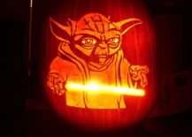 Yoda pumpkin stencil with light saber is a showstopper!