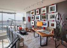 You need not add too much red to brighten the home office in gray