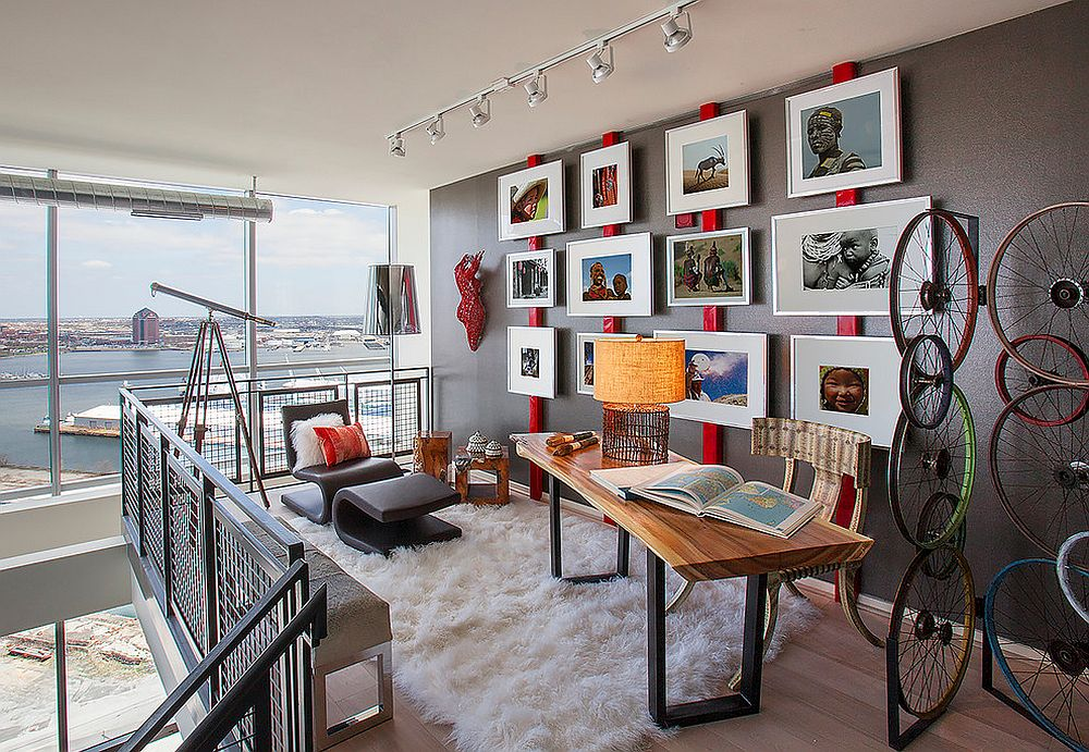 You need not add too much red to brighten the home office in gray [Design: Décoria Interior Designs / Photography: D. Randolph Foulds]