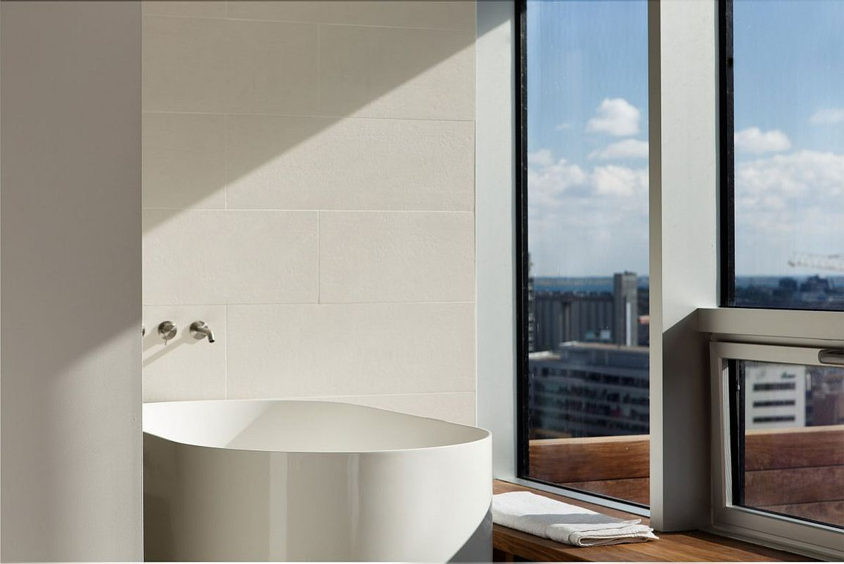 A dip in the bathtub at the penthouse also offers stunning views of downtown Montreal!