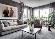 Ample natural light brings the gray living room alive 217x155 Scandinavian Style Meets Gray Panache Inside This Stockholm Apartment