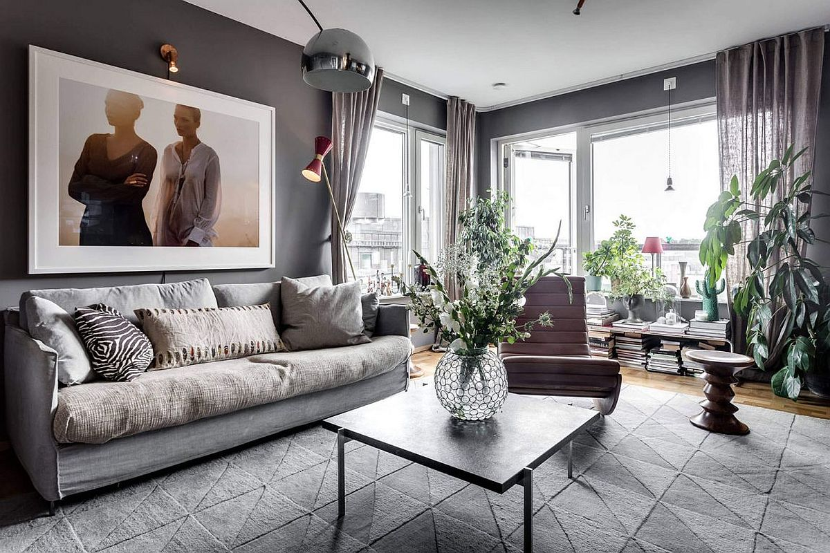 Ample natural light brings the gray living room alive