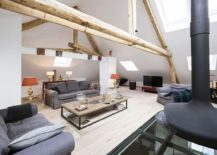 Attic living room of renovated 1920s manor house in Luxembourg 217x155 House Luxembourg: Modern Conversion Revitalizes 1920's Manor Residence