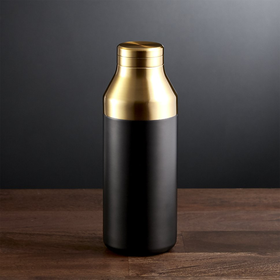 Black and gold cocktail shaker from Crate & Barrel