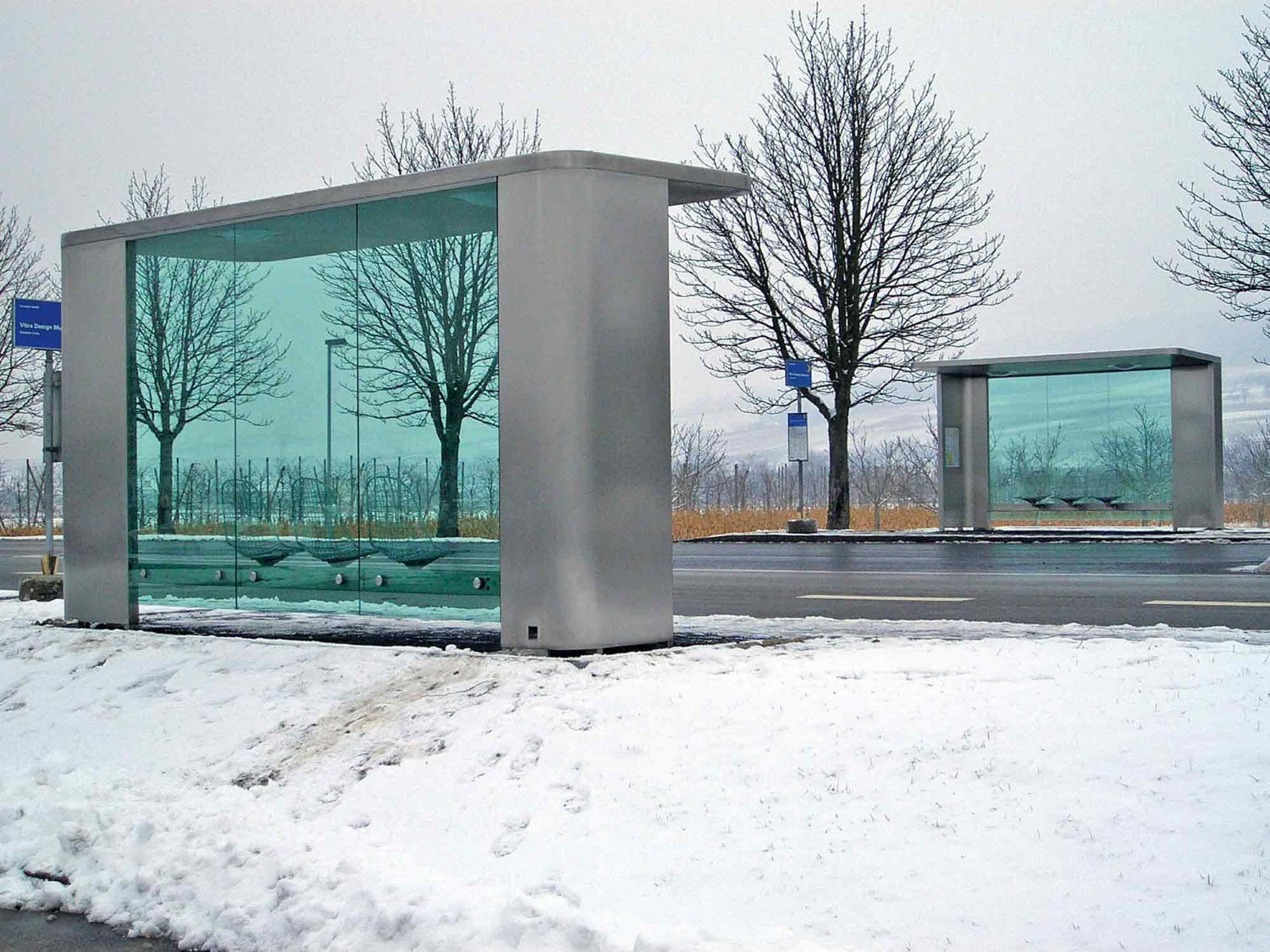 Bus Stop (2006). A pair of bus shelters that were designed for the main road near Vitra's Weil am Rhein site.