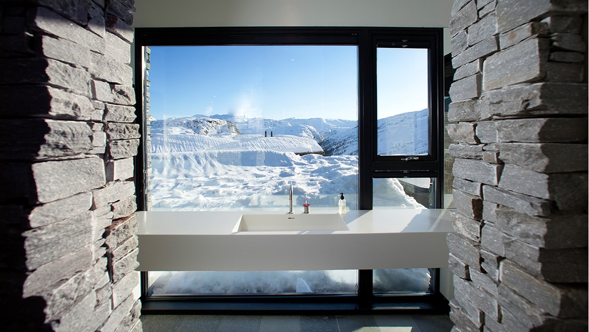 Bathroom with a view at Cabin G.