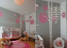 Chic nursery in pink and gray 217x155 Trendy and Chic: Gray and Pink Nurseries That Delight!