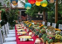 Colorful lighting for outdoor Thanksgiving dinner