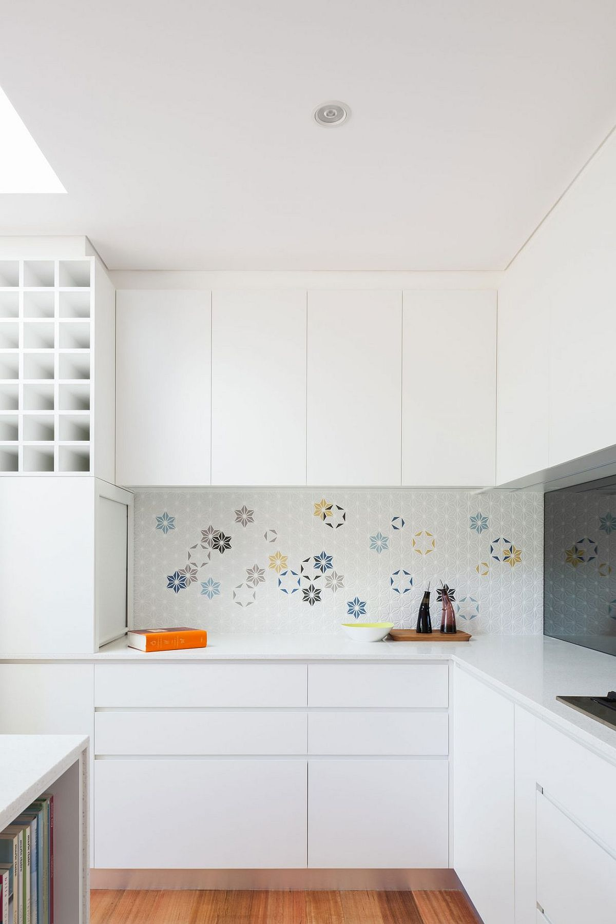 Colorful tiled backsplash with geo style for the kitchen