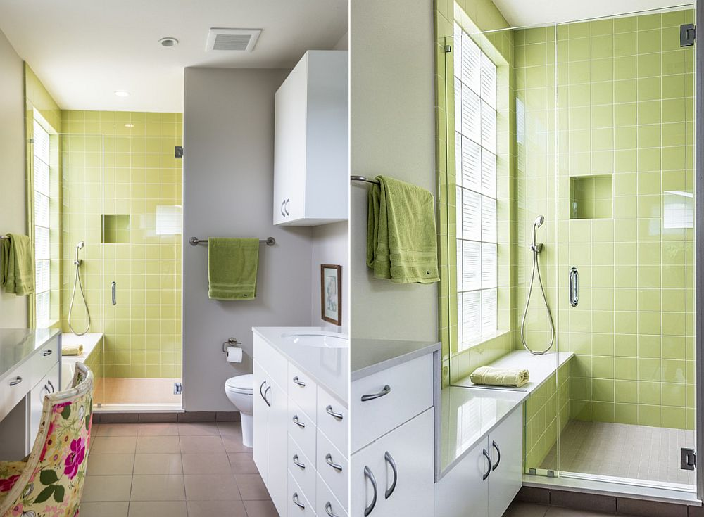 Contemporary bathroom in gray with green shower area [Design: Brett Zamore Design]
