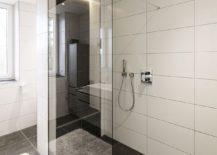 Contemporary bathroom with glass shower area