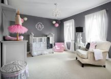 Contemporary girls' nursery in gray with stylish pops of pink