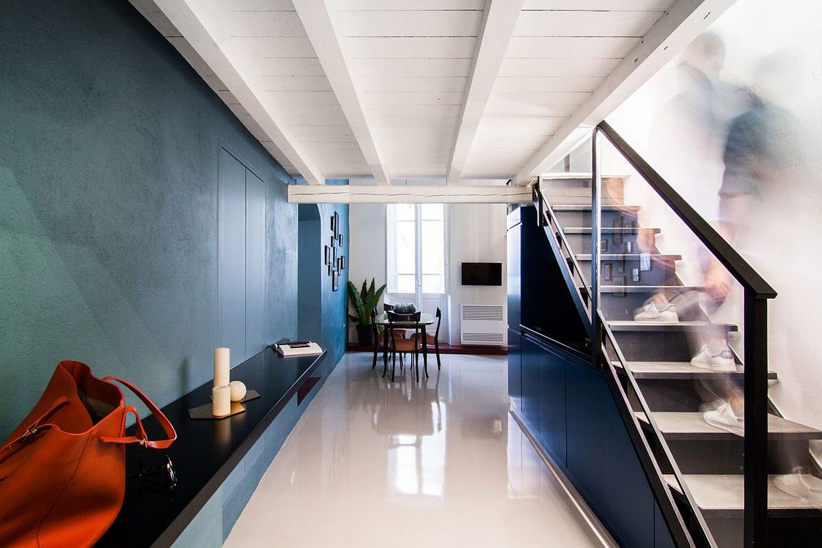 Contemporary home with colorful walls in blue