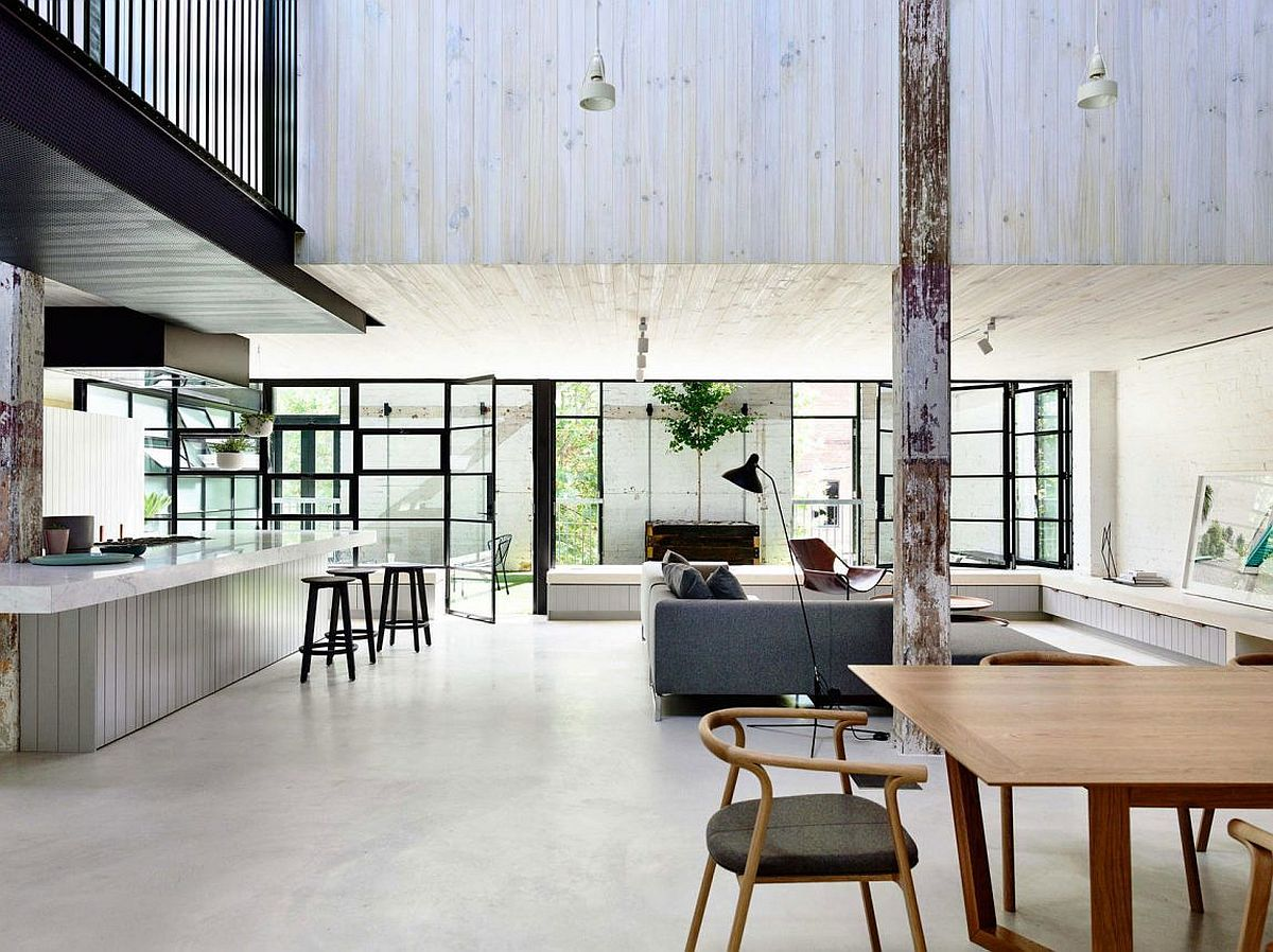 Contemporary industrial loft in Melbourne transformed from old warehouse
