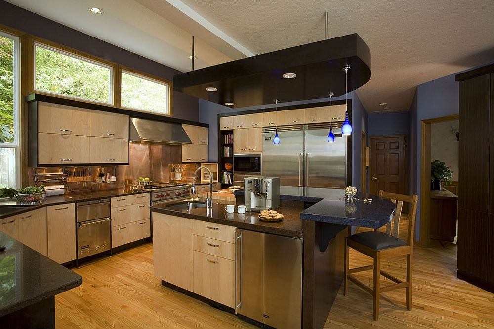 Contemporary kitchen in stainless steel, wood and copper [Design: Robin Rigby Fisher]