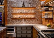 Copper penny tile backsplash brings glamour to the kitchen