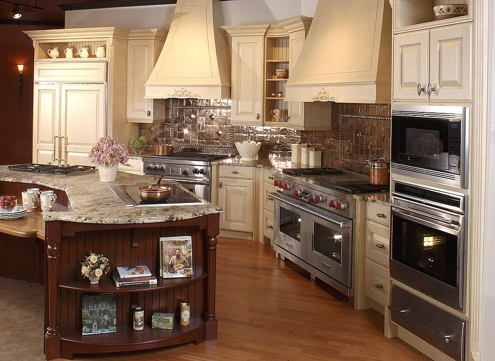 20 copper backsplash ideas that add glitter and glam to for Traditional kitchen appliances