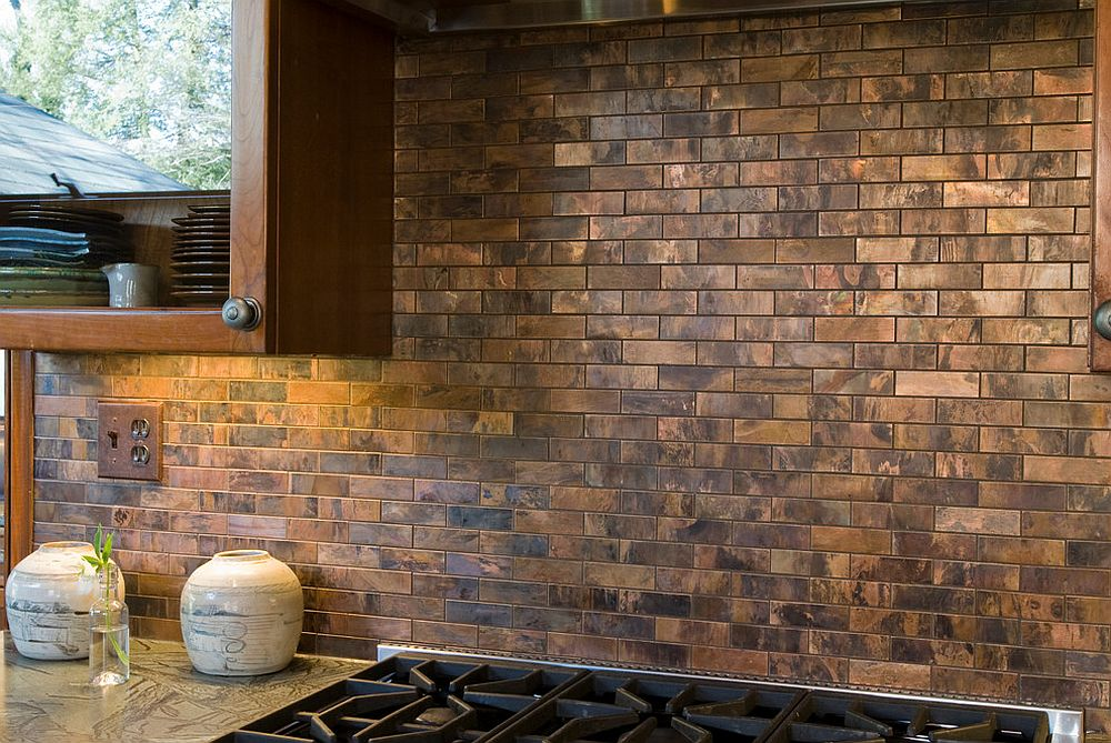 ... Copper Tiles Create A Cool Backsplash In The Traditional Kitchen  [Design: Welsh Construction]