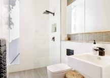Corner shower area of the contemporary bathroom