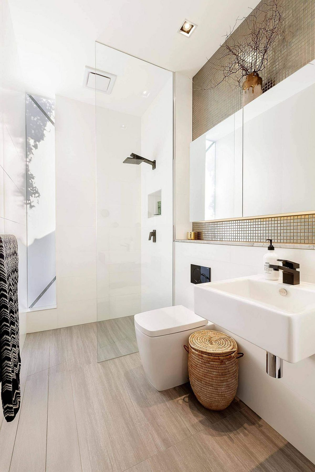 Corner shower area of the contemporary bathroom