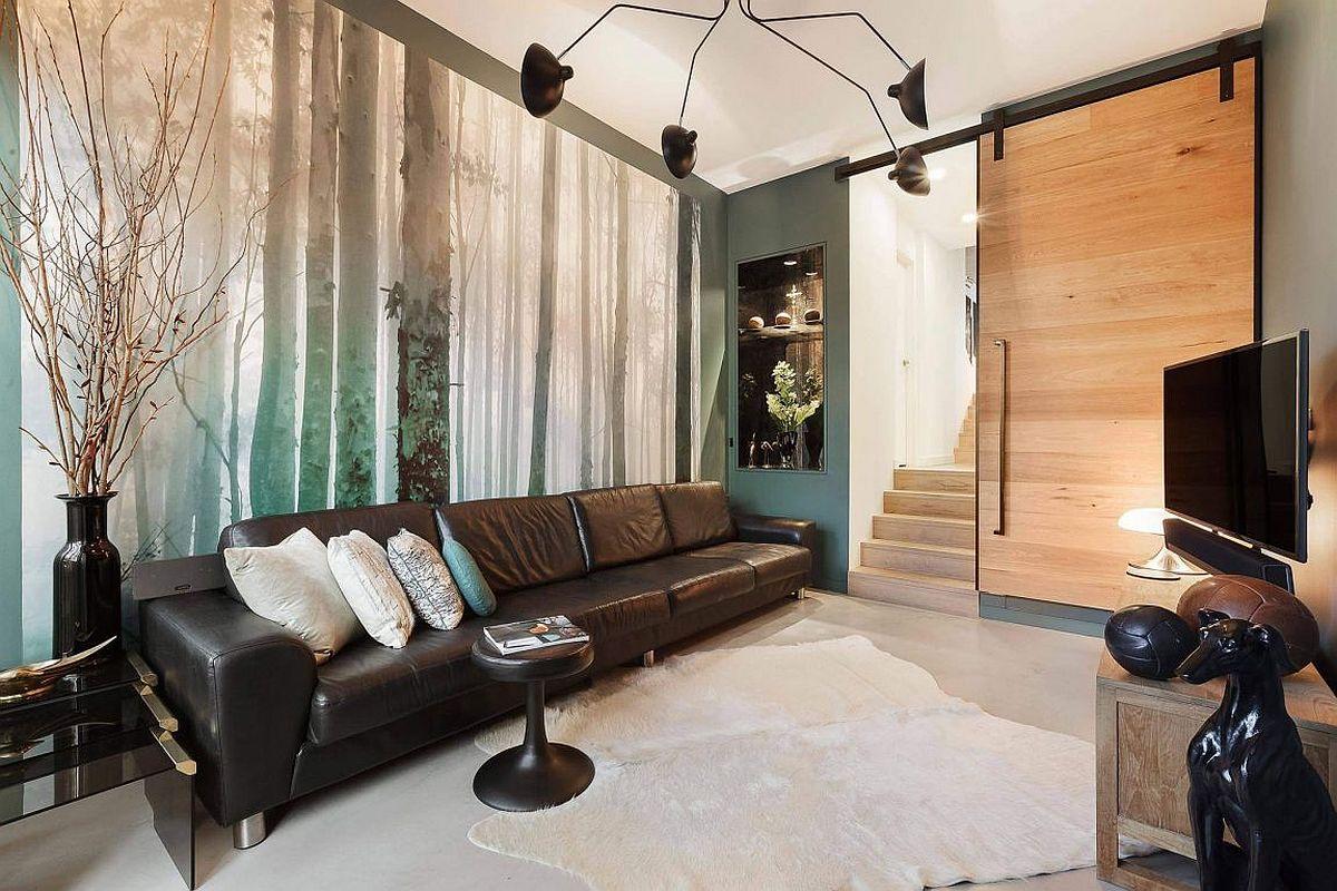 Custom forest mural for the living room