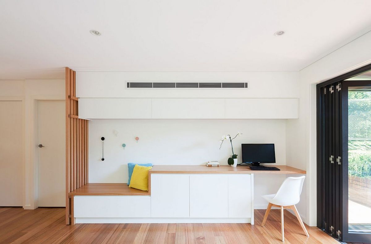 Custom home workspace and bench with built-in storage