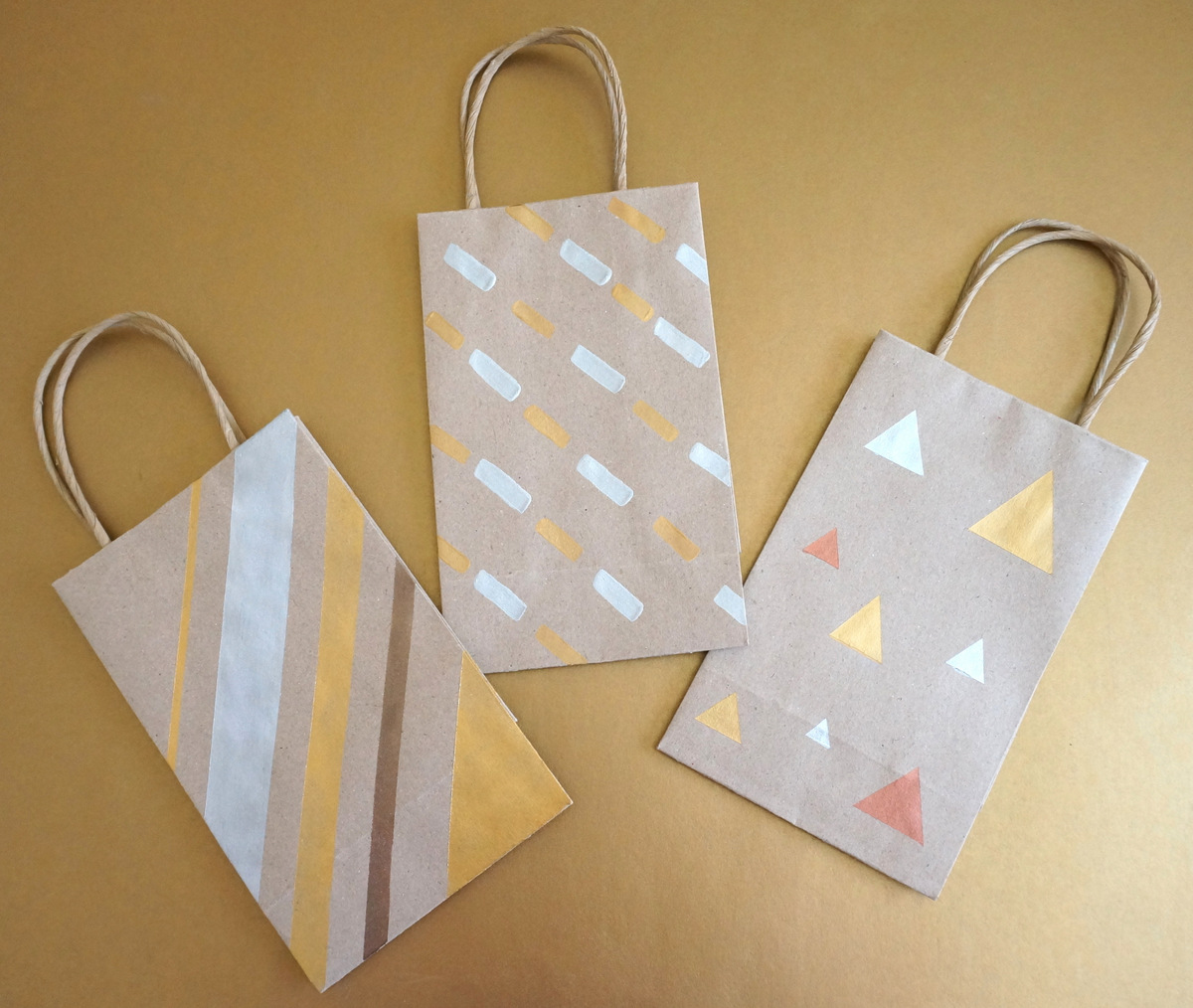 DIY gift bags with metallic designs