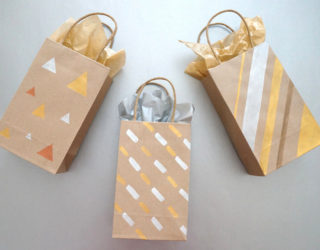 Painted DIY Gift Bags with Metallic Flair